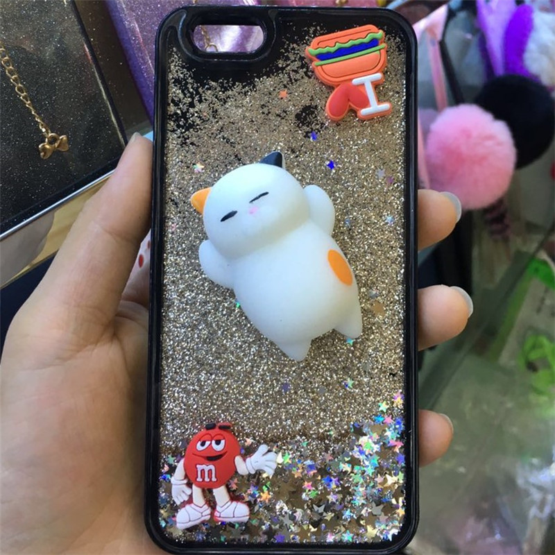2017new Squishy Phone Cover, 3D Cute Soft Silicone Squishy phone case,Squish Cute Cat Phone Case for iPhone 6 Plus