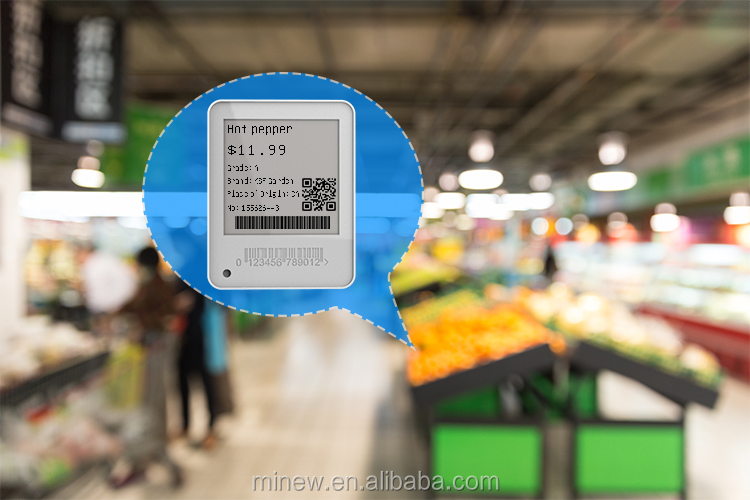 Minew 1.54 inch esl low temperature BLE 5.0 wireless  e-paper price display electronic shelf label NFC support