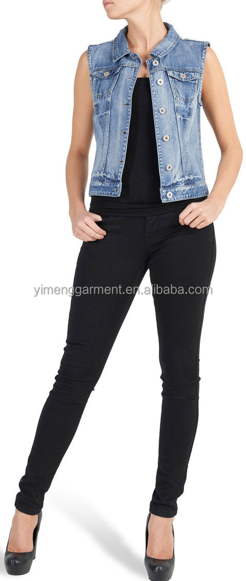 wholesale women jean denim vest with lace