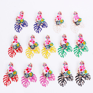 Alloy Big Leaf Rhinestone Handmade Paillette Flower Metal Texture Earrings Vintage Beautiful Fashion Jewelry Wholesale