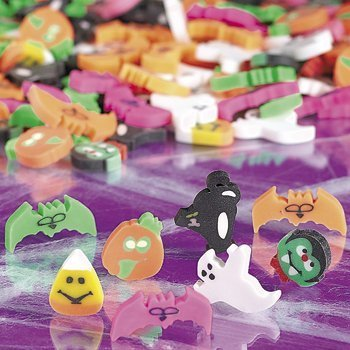 "144 (1 Gross) ~ Halloween Mini Erasers ~ Approx. 1/2""-1"" ~ Assorted ~ New ~ Pumpkin, Ghost, Vampire, Dracula, Black Cat, Bats"