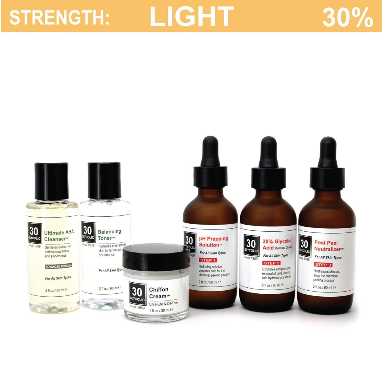 30% Glycolic Peel System for Acne/Oily/Combo Skin - FREE $45 Cleanser/Toner/Cream INCLUDED