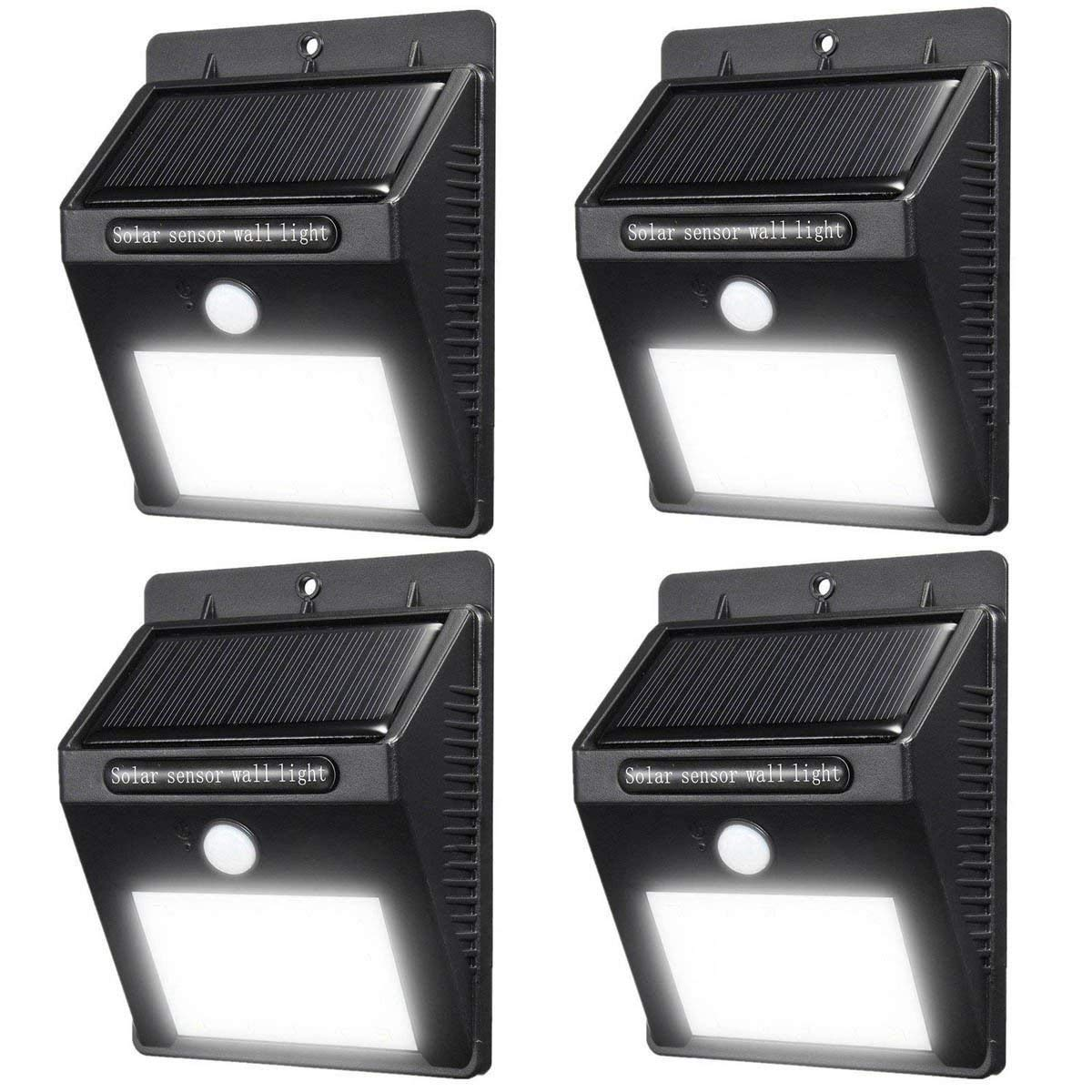 Motion Sensor Solar Lights Outdoor Wall Light 8 LED Waterproof Wireless Security Night Light Lamp For Outdoor Closet Light Porch Light Yard Garden Step Stair Garage Garden Deck Light, 4 pack