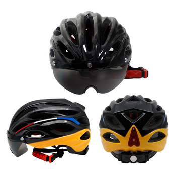 Black Customized Goggles Helmet Cycling Wholesale Men's Cycling Helmet LED With  Competitive Price