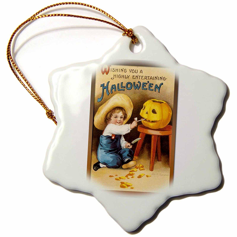3dRose BLN Vintage Halloween - Vintage Halloween Cute Little Boy in a Straw Hat Carving a Jack O Lantern Pumpkin - 3 inch Snowflake Porcelain Ornament (orn_126134_1)