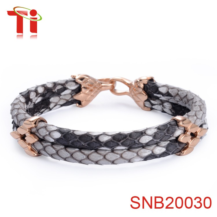 2017 Trending Products Python Skin Leather Bracelet Rose Gold Arrow Flower Stainless Steel Bangles Bulk From China For Men