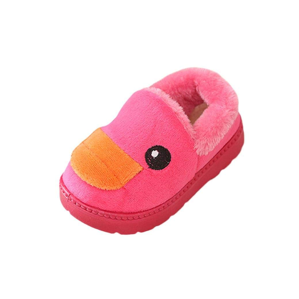 Pulison(TM) Toddler Baby Fashion Sneakers Cartoon Duck Child Casual Winter Warm Boots Shoes (Age:1-1.5T, Hot pink)