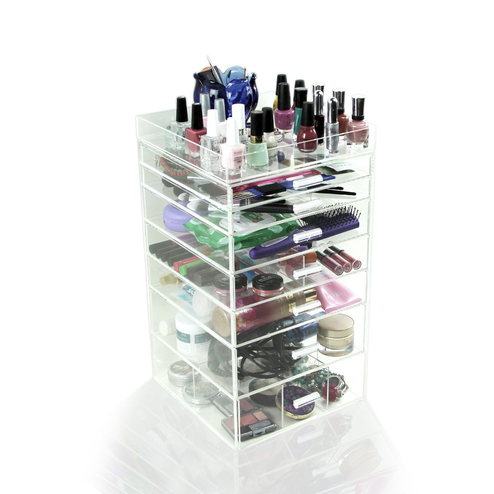 """Houseables Acrylic Makeup Organizer, 7 Drawers, 11x11x19.5"""", Clear Cube Case, Cosmetic Beauty Storage, Make Up Holder, Vanity Display Box, Bathroom Dresser Jewelry Collection Organizer w/ Top Tray"""