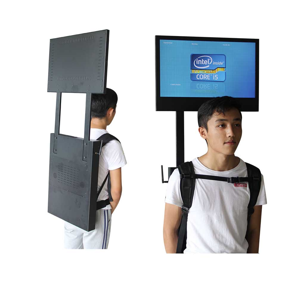24 Inch advertising backpack lcd display with over head screen, screen direction can be customized