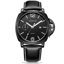 Fashion gents sportly watch with genuine leather strap