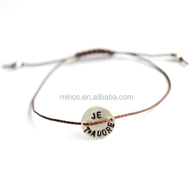 I love You hand stamped stainless steel disc bracelet for wholesale