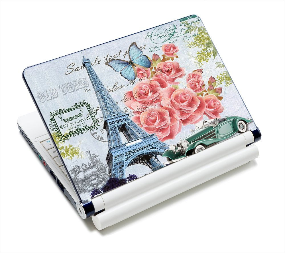 "Eiffel Tower & Pretty Pink Roses 11.6""-15.6"" Netbook Laptop Skin Sticker Reusable Protector Cover Case for 11.6"" 12.1"" 13"" 13.1"" 13.3"" 14"" 15"" 15.4"" 15.6"" Inch Toshiba Hp Samsung Dell Apple Acer Leonovo Sony Asus Laptop PC FY-NEK-024"