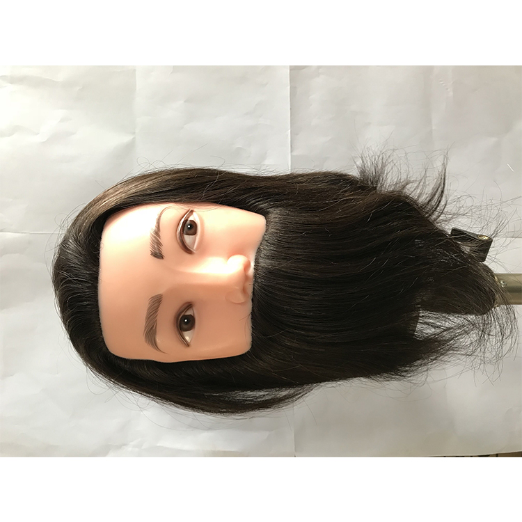 Professional dressing salon beauty school plastic human hair training doll model conventional male mannequin head with beard