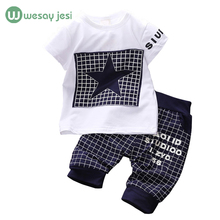 Baby boy clothes 2015 Brand summer kids clothes sets t-shirt+pants suit clothing set Star Printed Clothes newborn sport suits