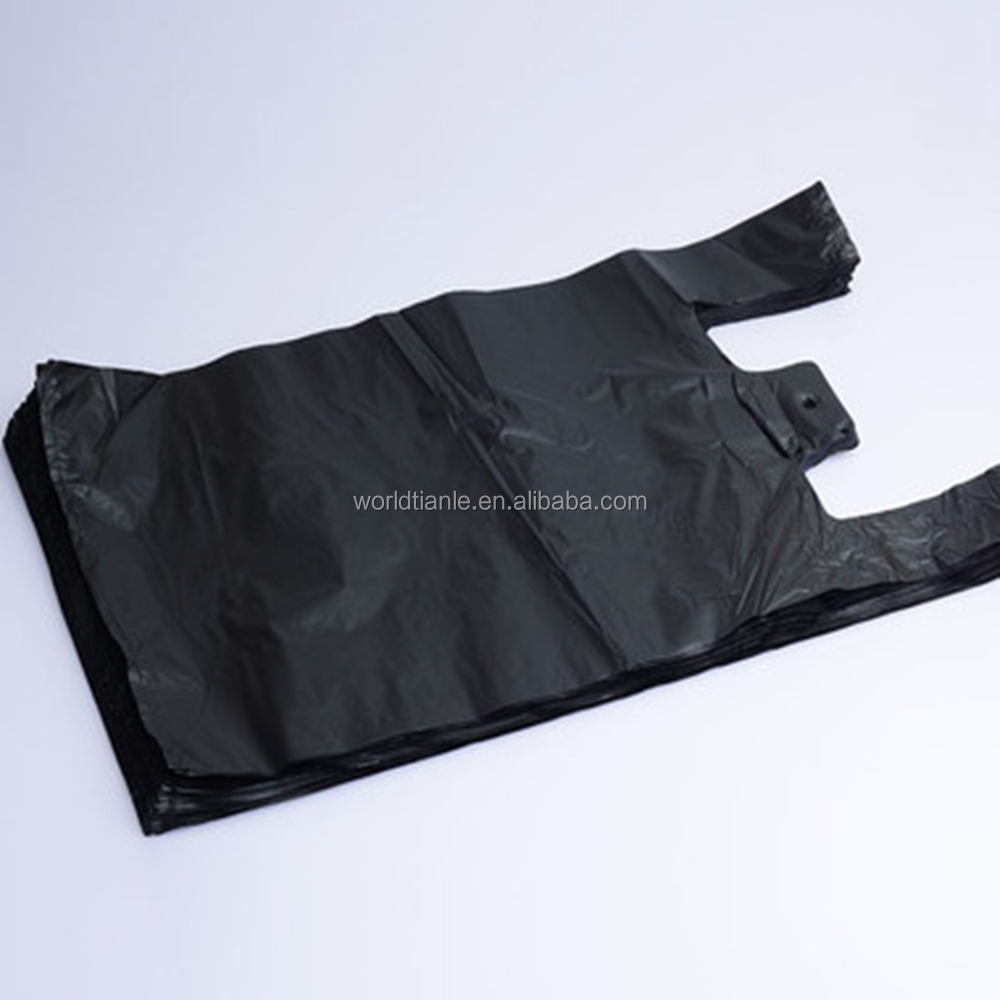 Factory price HDPE plastic black t shirt garbage bag trash bag,plastic garbage t shirt bag