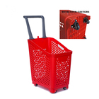 68L large capacity plastic shopping rolling baskets with wheels