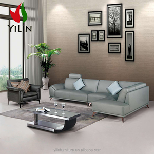 Northern European Style Design With Stainless Steel Legs Modern Leather Sofa Couch For Living Room
