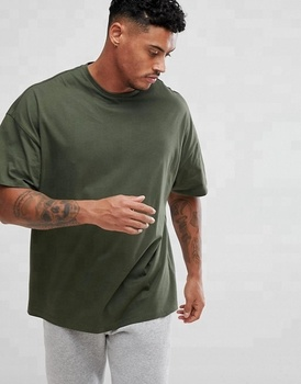 Wholesale Plain Workout Clothing Men Oversized T Shirt In Green
