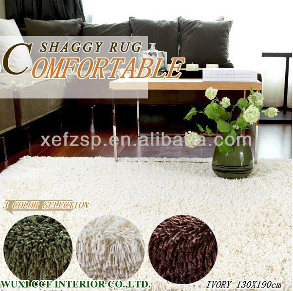 Shaggy fluffy washable carpet for living room