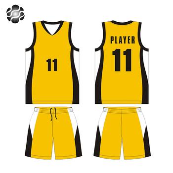 c09087cc61d Yellow Color Basketball Uniform Basketball Jersey with Customize Team Name