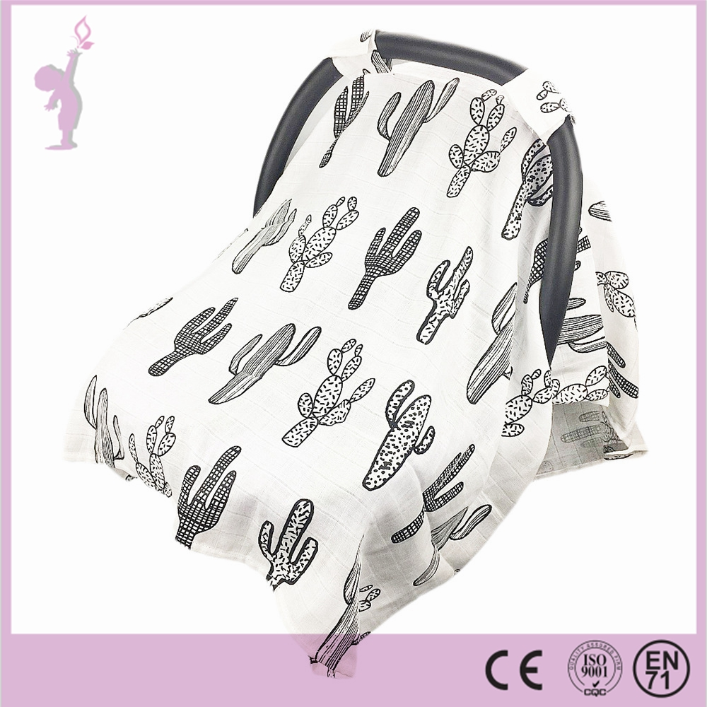 Wholesale Multi Use Soft & Breathable Muslin Cotton Baby Car Seat Canopy, Stroller Cover, Receiving Blankets Baby Cover