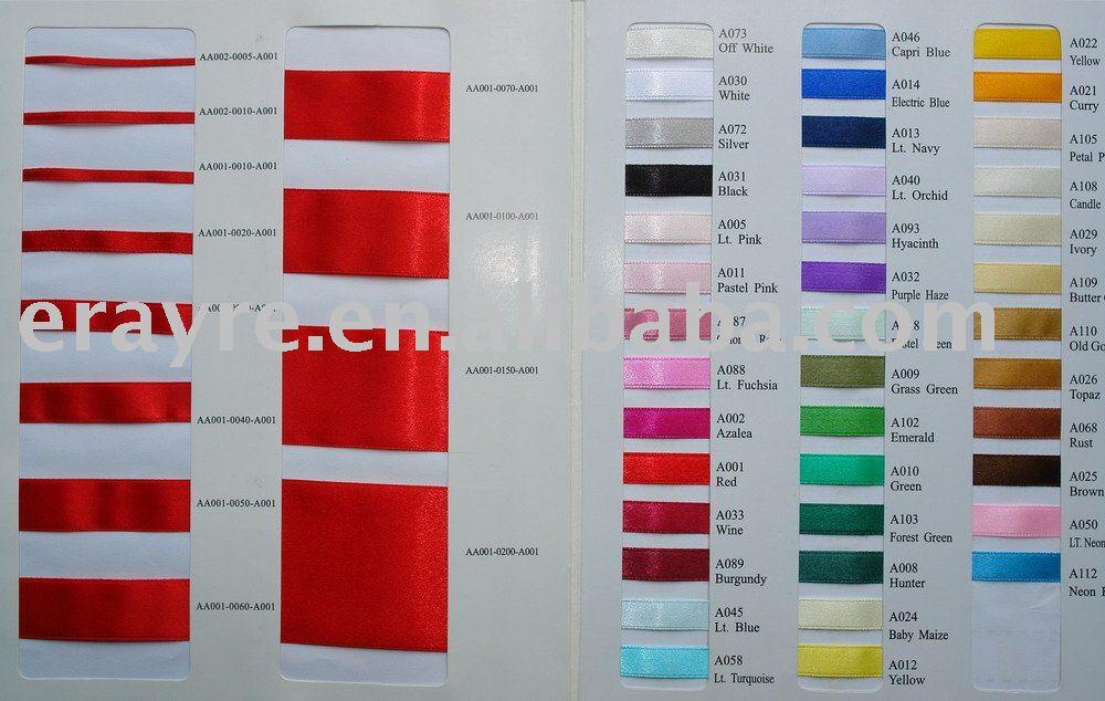 The Color Chart Of Nylon Satin Ribbon