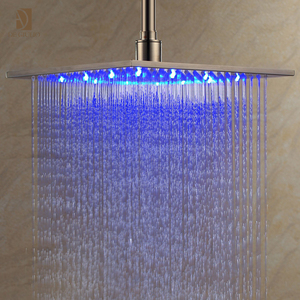 Square Polished Stainless Steel Top Shower , 3 Color Rainfall Jet LED Shower Head