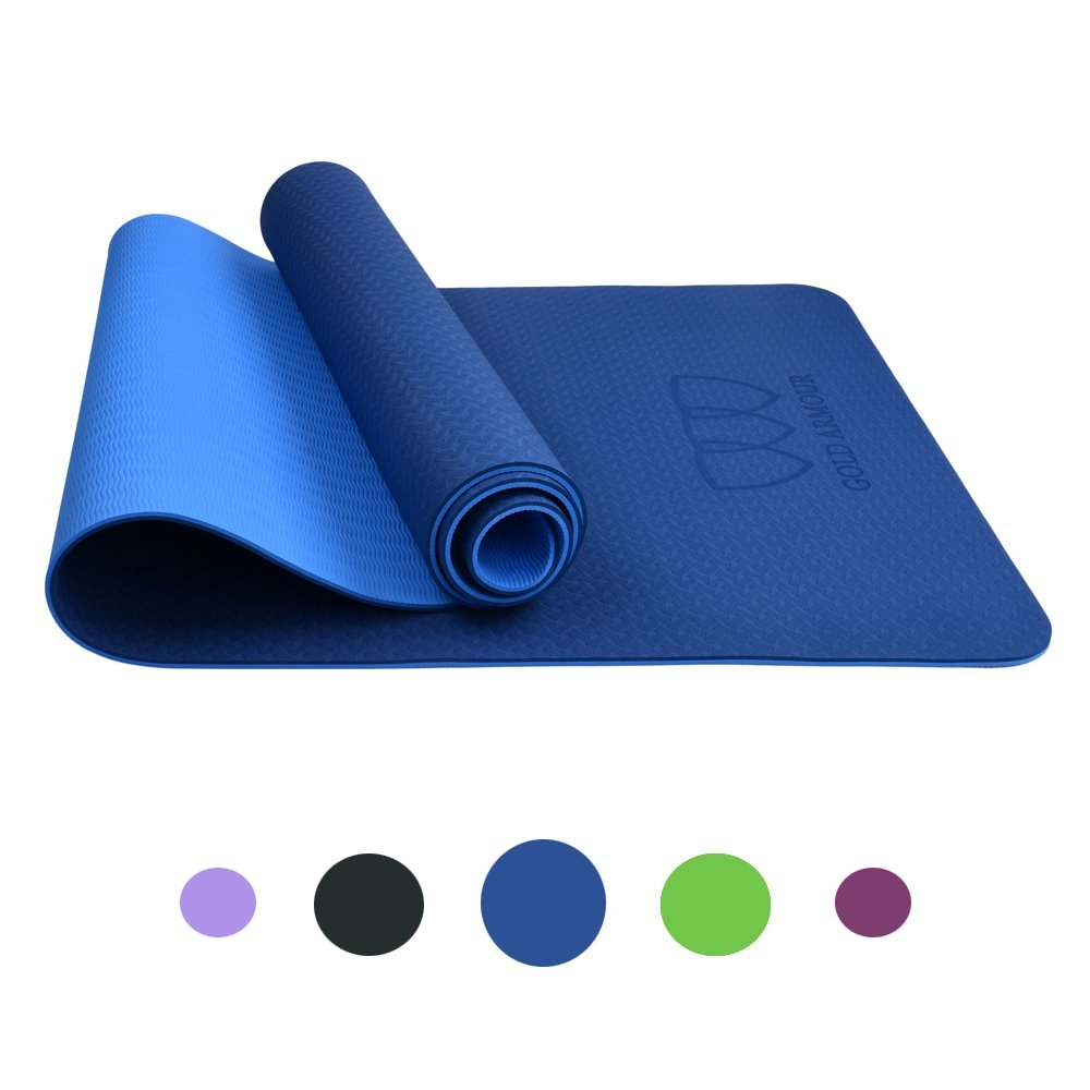 Get Quotations · Gold Armour Non Slip Yoga Mat with Carrying Strap - Eco  Friendly TPE Workout Mat Exercise 15a96c62e1860