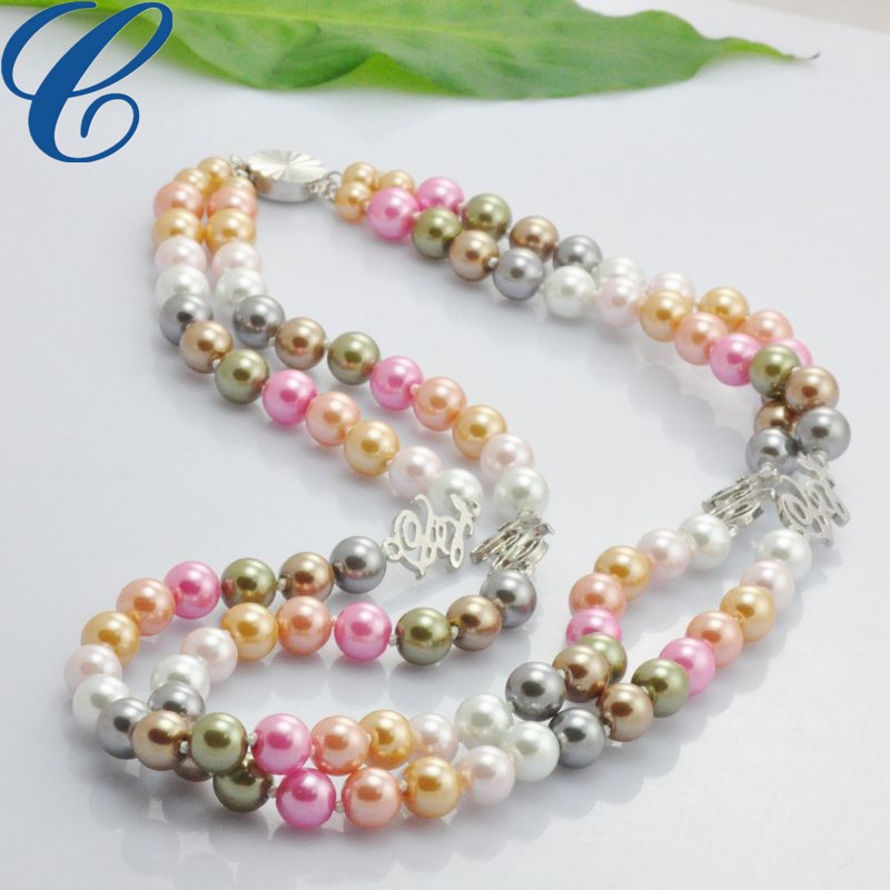 Details about Two Strands mix color Pearl Necklace and Matched Bracelet set with love word