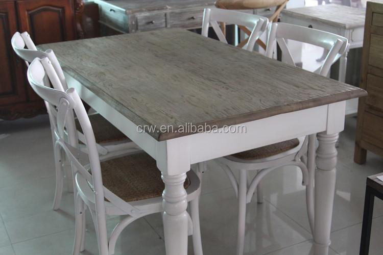 Wit Eiken Tafel : Dt 4001 4 franse stijl massief houten tafel antiek wit eiken