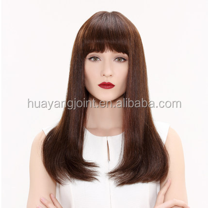 High-end Virgin Remy Brazilian Human Hair 8A Grade Lace Front Wig With Neat Bangs