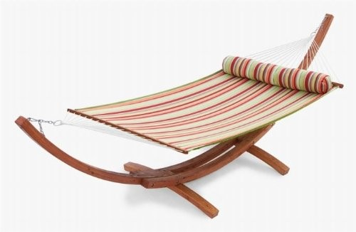 Popular Wooden Curved Arc Hammock Stand With Cotton Hammock For ...