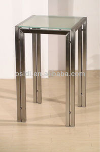 Stainless steel square bar table with frosted glass top