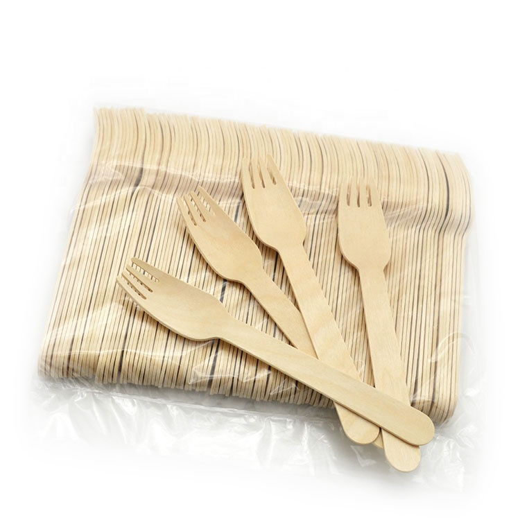 Wholesale Wooden Bamboo Disposable Spoon Fruit Picks Forks Knife Cutlery Set