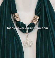 Teal Scarf with Silver Crown pendants