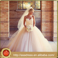 ABS-023 New Arrival White Tulle Bride Gowns Sweetheart Neck Ball Gown Long Train Princess Wedding Dress for Weddings