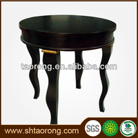 Customized 5 star hotel black wooden round corner table for bedroom