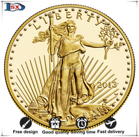 One Troy ounce Warking Liberty tungsten gold plated American eagle coin for collectible and art