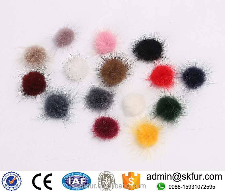 Factory wholesale 3 cm 4 cm 5 cm mink fur pom poms ball