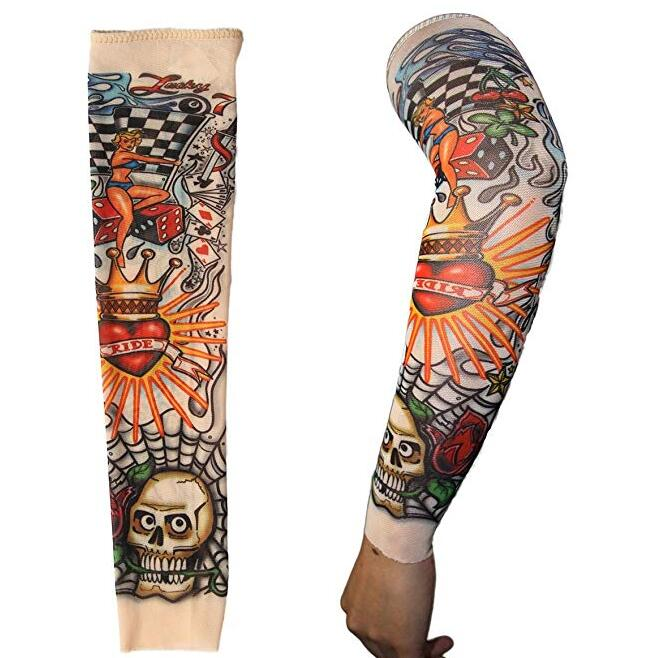 Men's Accessories Dedicated Skin Proteive Stretchy Faketemporary Tattoo Sleeves Arm Stockings Design 10 Styles Mix Nylon Men Unisex Fashion Arm Warmer