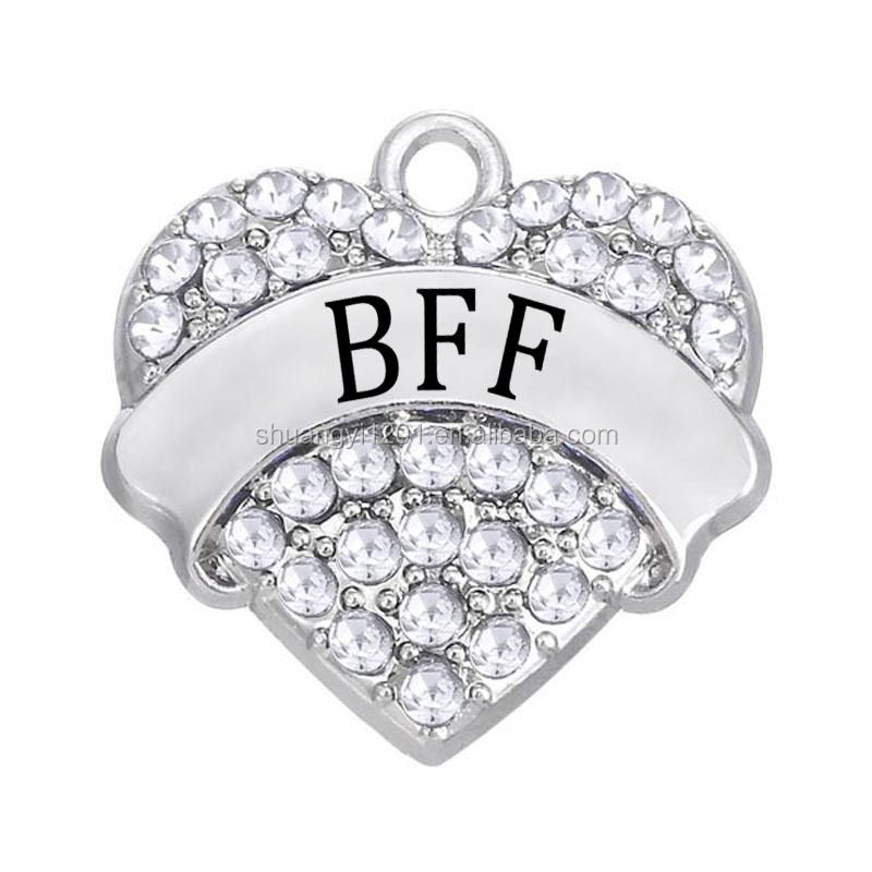 Wholesale Personalized Custom 2016 Best Friends Forever BFF Words Heart Charm