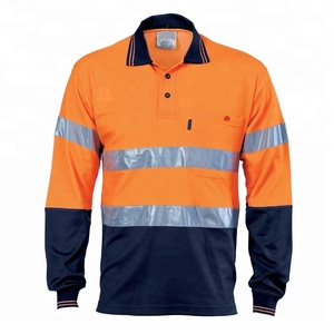 Reflective Tape Long Sleeve Cotton Workwear Polo T-Shirt Hi Vis China Factory OEM Services
