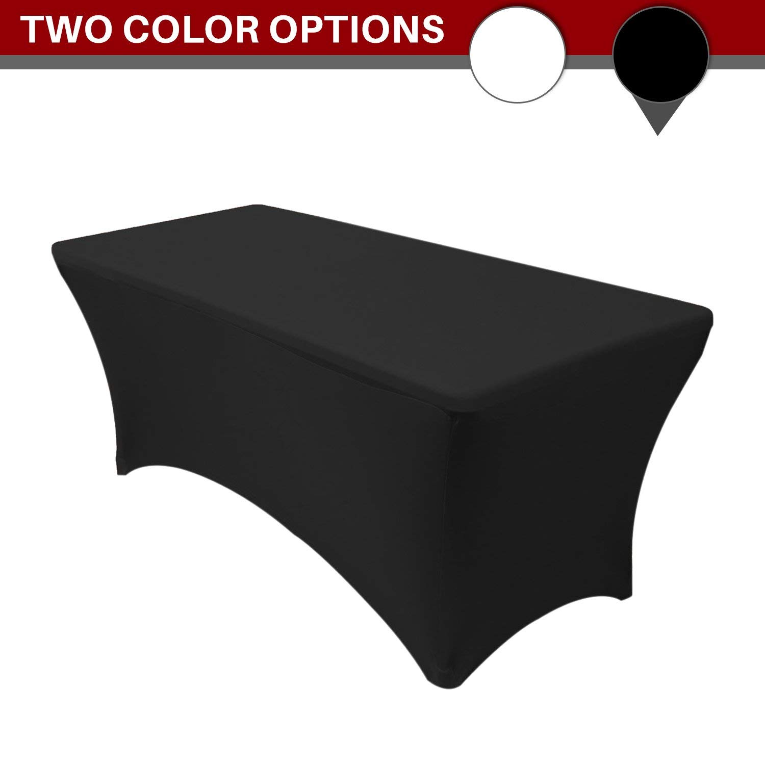 Stretch Tablecloth - Stretch Spandex Tablecloth for Elegant Parties and Events - Perfect for Wedding Receptions or Formal Events - 8 feet Rectangular Table Cloth (Black)