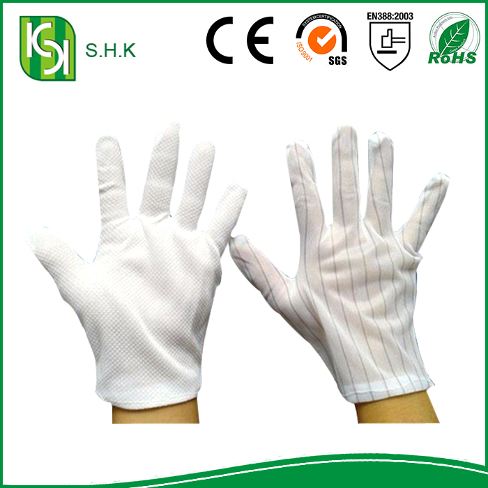 China Hot Selling Industrial Anti-static Polyester Line Free PVC Dotted Hand Gloves