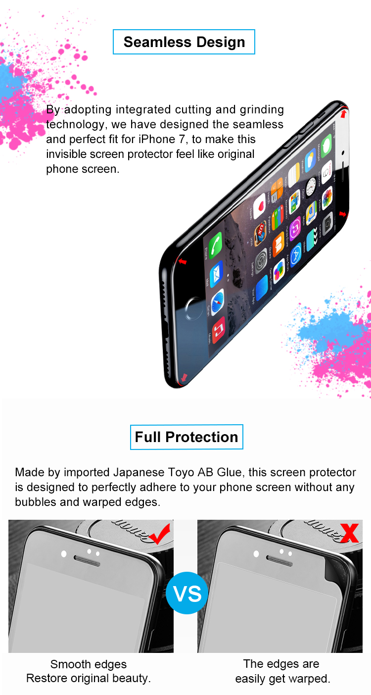 GOLDSPIN 4D Silicone Tempered Glass Screen Protector For iPhone 7/iPhone 8