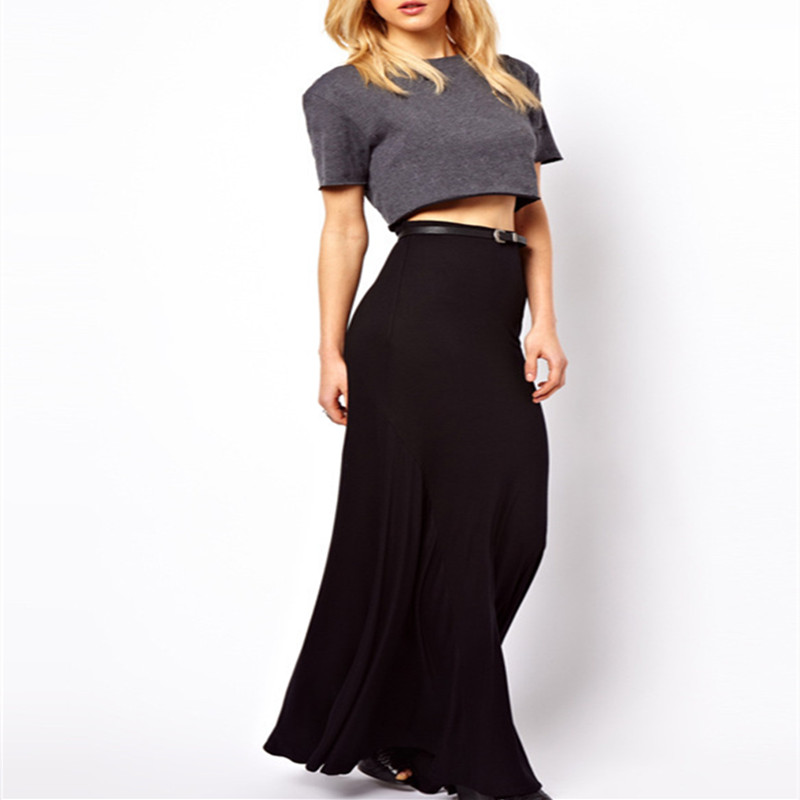 Pleated Maxi Skirt Summer Women Brand New Package Hip Ladies Elegant Skirt Floor Length Saia Faldas Black Pleated Maxi Skirt