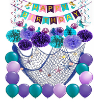 Happy Birthday Banner Mermaid Theme Party Decoration Supplies Set Hanging Swirl Pompoms Balloons Fish Net Birthday Party Decor