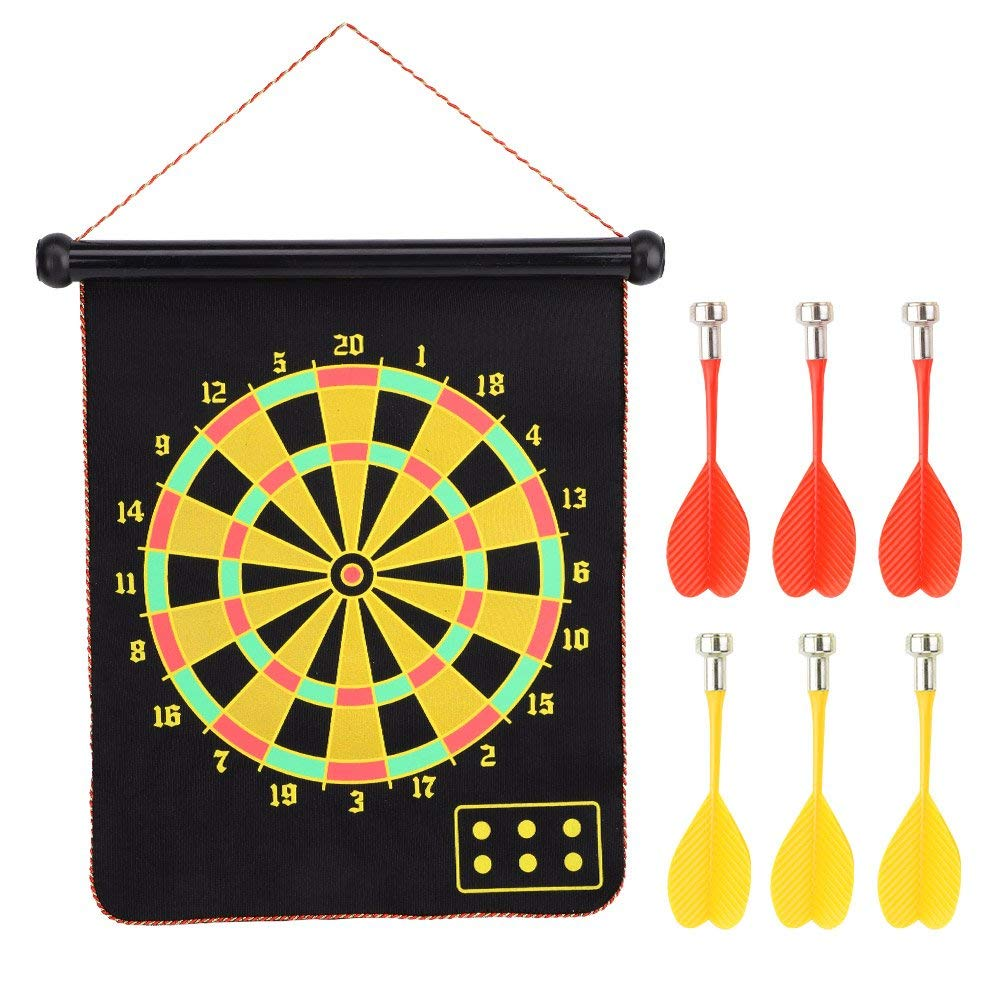 VGEBY Roll-up Magnetic Dart Board Set, Double Sided Hanging Magnetic DartBoard Game(15inch) with 6 Safety Darts