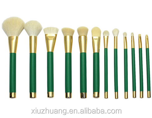 Wholesale Best Beauty Makeup Brushes Manufactures Green Wood Handle 12pcs Makeup Brushes Cosmetics