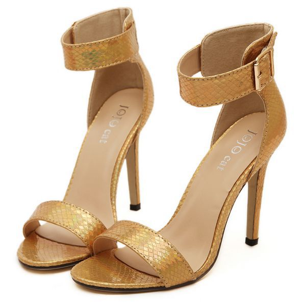0adb039bdbee1 Get Quotations · Plus size 2015 Womens Sandals Open Toe Ankle Straps  Sandals High Heels Summer gold silver BRIDAL